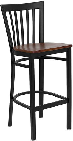 HERCULES Series Black School House Back Metal Restaurant Bar Stool with Cherry Wood Seat XU-DG6R8BSCH-BAR-CHYW-GG by Flash Furniture - Peazz.com