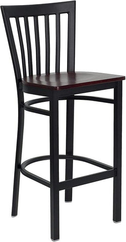 HERCULES Series Black School House Back Metal Restaurant Bar Stool with Mahogany Wood Seat XU-DG6R8BSCH-BAR-MAHW-GG by Flash Furniture - Peazz.com
