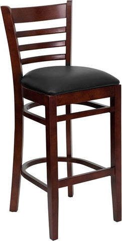 HERCULES Series Mahogany Finished Ladder Back Wooden Restaurant Bar Stool with Black Vinyl Seat XU-DGW0005BARLAD-MAH-BLKV-GG by Flash Furniture - Peazz.com