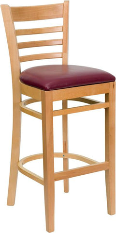 HERCULES Series Natural Wood Finished Ladder Back Wooden Restaurant Bar Stool with Burgundy Vinyl Seat XU-DGW0005BARLAD-NAT-BURV-GG by Flash Furniture - Peazz.com