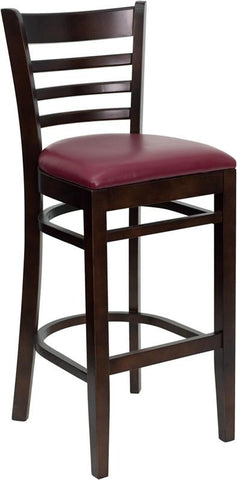 HERCULES Series Walnut Finished Ladder Back Wooden Restaurant Bar Stool with Burgundy Vinyl Seat XU-DGW0005BARLAD-WAL-BURV-GG by Flash Furniture - Peazz.com