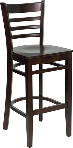 HERCULES Series Walnut Finished Ladder Back Wooden Restaurant Bar Stool XU-DGW0005BARLAD-WAL-GG by Flash Furniture - Peazz.com