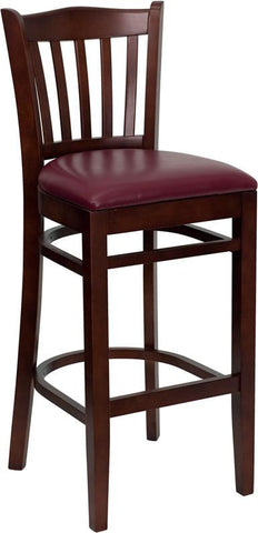 HERCULES Series Mahogany Finished Vertical Slat Back Wooden Restaurant Bar Stool with Burgundy Vinyl Seat XU-DGW0008BARVRT-MAH-BURV-GG by Flash Furniture - Peazz.com