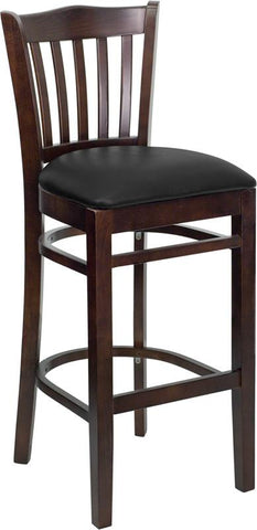 HERCULES Series Walnut Finished Vertical Slat Back Wooden Restaurant Bar Stool with Black Vinyl Seat XU-DGW0008BARVRT-WAL-BLKV-GG by Flash Furniture - Peazz.com