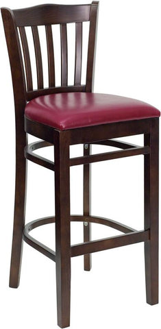 HERCULES Series Walnut Finished Vertical Slat Back Wooden Restaurant Bar Stool with Burgundy Vinyl Seat XU-DGW0008BARVRT-WAL-BURV-GG by Flash Furniture - Peazz.com