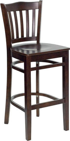 HERCULES Series Walnut Finished Vertical Slat Back Wooden Restaurant Bar Stool XU-DGW0008BARVRT-WAL-GG by Flash Furniture - Peazz.com