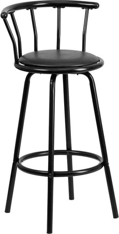 Flash Furniture YB-Y-J909-KD-GG Crown Back Black Metal Bar Stool with Black Vinyl Swivel Seat - Peazz.com