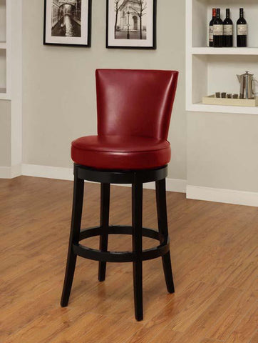 "Armen Living 26"" LC4044BARE26 Boston Swivel Barstool in Red Bicast Leather - BarstoolDirect.com"