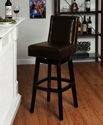 "Armen Living 30"" LC4048BABR30 Wayne Swivel Barstool In Brown Bicast Leather - BarstoolDirect.com"