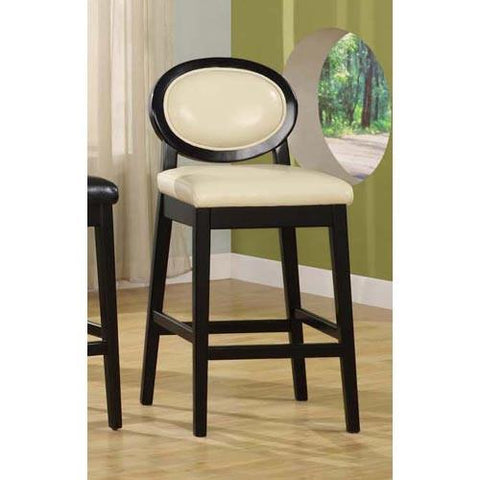 "Armen Living 7015 Martini 26"" Stationary Barstool - Creme Leather With Black Legs LC7015BACR26 - BarstoolDirect.com - 1"