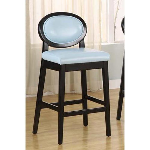"Armen Living 7015 Martini 26"" Stationary Barstool - Sky Blue Leather With Black Legs LC7015BASB26 - BarstoolDirect.com - 1"