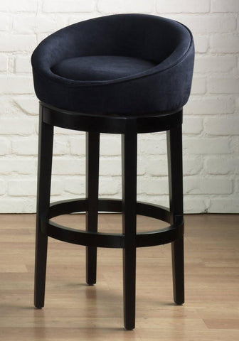 "Armen Living Igloo Black Micro Fiber 30"" Swivel Barstool With Eboney Finished Legs (LCIGBAMFBL30) - BarstoolDirect.com - 1"