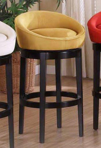 "Armen Living Igloo Yellow Micro Fiber 30"" Swivel Barstool With Ebony Finished Legs (LCIGBAMFYE30) - BarstoolDirect.com - 1"