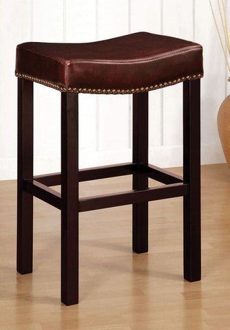 "Tudor Backless 30"" Stationary Barstool In Antique Brown Leather With Nailhead Accents Mbs-013  by Armen Living - BarstoolDirect.com"