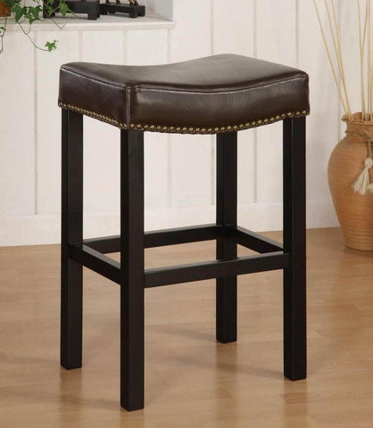 "Armen Living Mbs-013 Tudor Backless 30"" Stationary Barstool In Antique Brown Leather With Nailhead Accents LCMBS013BABC30 - BarstoolDirect.com - 2"
