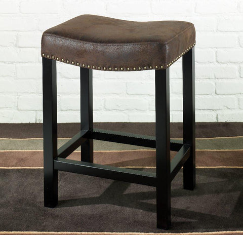"Armen Living Mbs-013 Tudor Backless 30"" Stationary Barstool Covered In A Wrangler Brown Fabric With Nailhead Accents. LCMBS013BAWR30 - BarstoolDirect.com - 2"