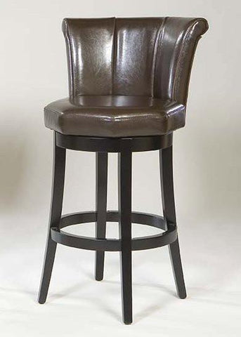 "Armen Living Mbs-01 30"" Barcelona Swivel Barstool - Brown Leather With Espresso Legs (LCMBS01SWBABR30) - BarstoolDirect.com - 1"