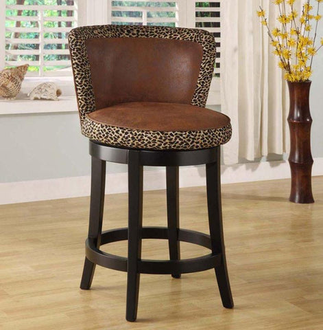 "Armen Living Mbs-11 Lisbon 26"" Swivel Barstool - Leopard Print Fabric Cover (LCMBS11SWMFAP26) - BarstoolDirect.com - 1"
