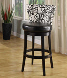"Armen Living Savvy 4015 30"" Black & White Floral Fabric Swivel Barstool With Ebony Wood Frame (LCSASWBAFL30) - BarstoolDirect.com - 2"