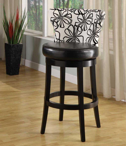 "Armen Living Savvy 4015 30"" Black & White Floral Fabric Swivel Barstool With Ebony Wood Frame (LCSASWBAFL30) - BarstoolDirect.com - 1"