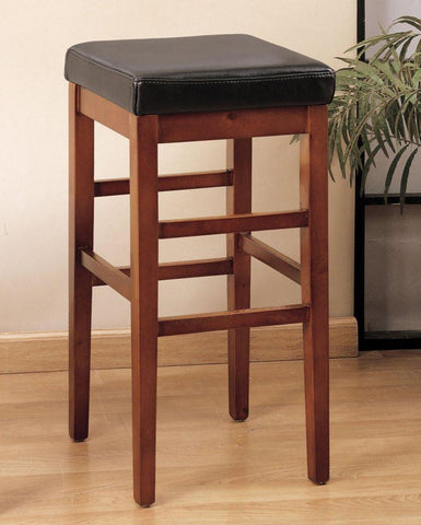 "Armen Living Sonata 26"" Stationary Barstool - Brown Leather LCSTBACHBR26 - BarstoolDirect.com - 1"