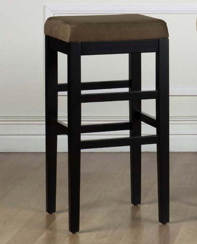 "Armen Living Sonata 30"" Stationary Barstool - Brown Micro Fiber With Black Legs LCSTBAMFBR30 - BarstoolDirect.com - 1"