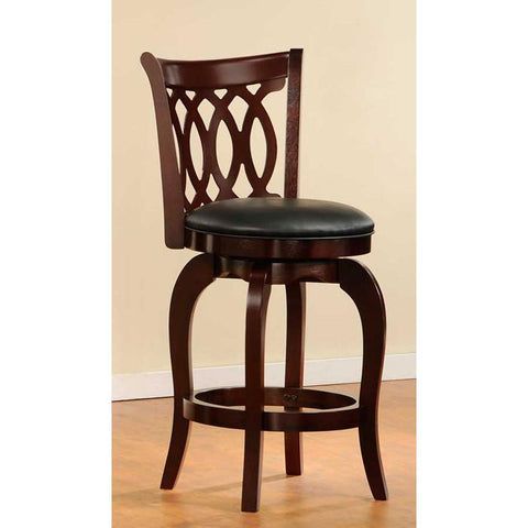 "Homelegance Shapel 1133 Swivel Counter Height 24"" Chair in Cherry (1133-24S) - BarstoolDirect.com - 2"
