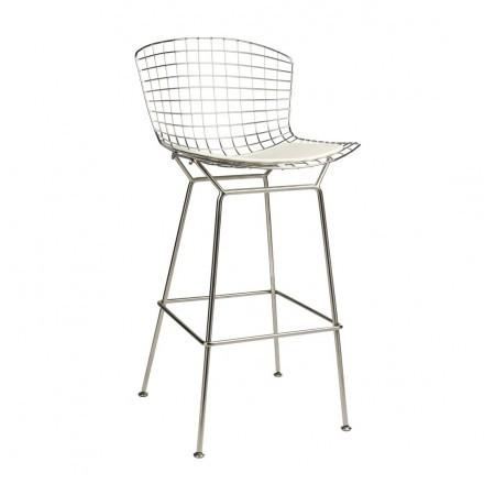 Mod Made MM-8033L-White Chrome Wire Bar Stool - BarstoolDirect.com