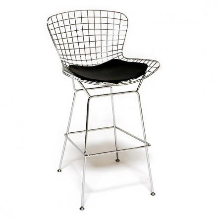 Mod Made MM-8033LS-Black Chrome Wire Counter Stool - BarstoolDirect.com