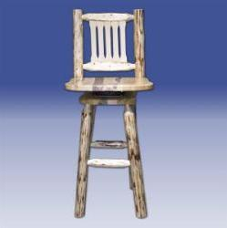 Montana Woodworks MWBSWSN Barstool w/ Back & Swivel Ready To Finish - BarstoolDirect.com