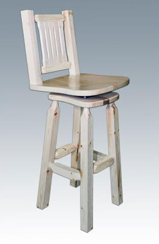 Montana Woodworks MWHCBSWSNV Homestead Collection Barstool w/ Back & Swivel Lacquered - BarstoolDirect.com