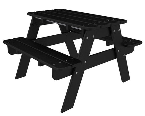 Polywood KT130BL Kids Picnic Table in Black - PolyFurnitureStore
