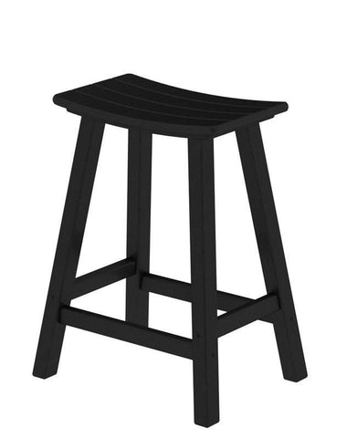 "Polywood 2001-BL Traditional 24"" Saddle Bar Stool in Black - PolyFurnitureStore"