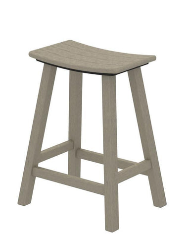 "Polywood 2001-SA Traditional 24"" Saddle Bar Stool in Sand - PolyFurnitureStore"