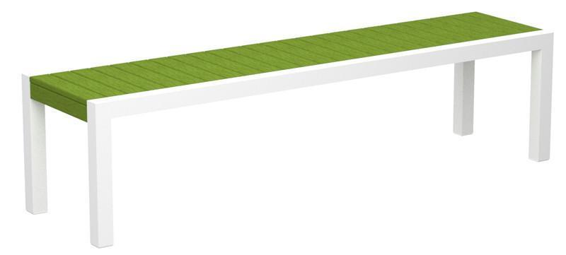 Mod Bench Gloss White Aluminum Frame Lime 4025 Product Photo