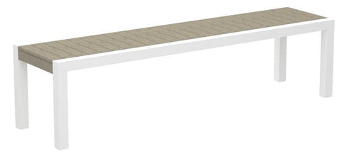 Polywood 3800-13SA MOD Bench in Textured White Aluminum Frame / Sand - PolyFurnitureStore