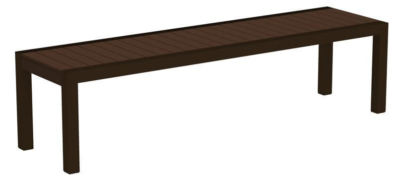 Bench Textured Bronze Aluminum Frame Mahogany Mod 3356 Product Photo