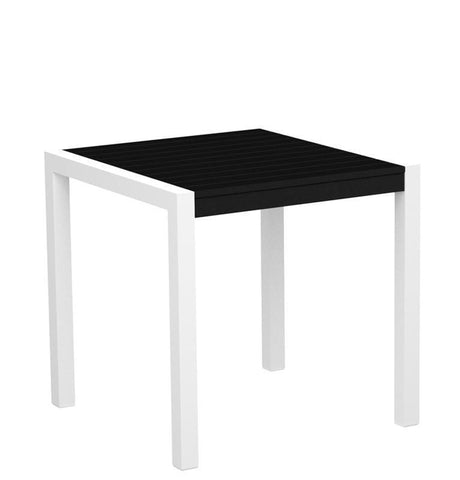 "Polywood 8000-10BL MOD 30"" Dining Table in Gloss White Aluminum Frame / Black - PolyFurnitureStore"