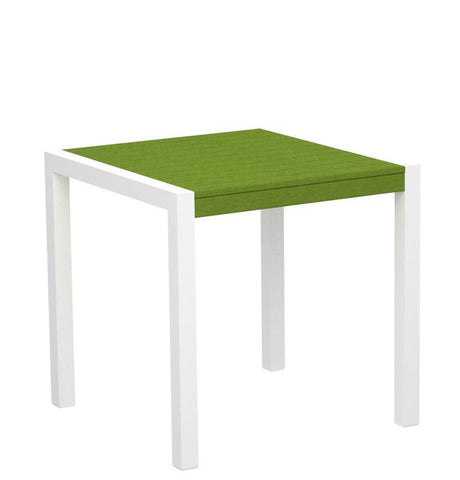 "Polywood 8000-10LI MOD 30"" Dining Table in Gloss White Aluminum Frame / Lime - PolyFurnitureStore"