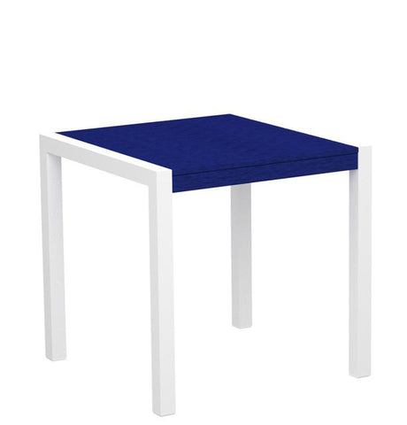 "Polywood 8000-10PB MOD 30"" Dining Table in Gloss White Aluminum Frame / Pacific Blue - PolyFurnitureStore"