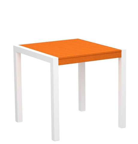 "Polywood 8000-10TA MOD 30"" Dining Table in Gloss White Aluminum Frame / Tangerine - PolyFurnitureStore"