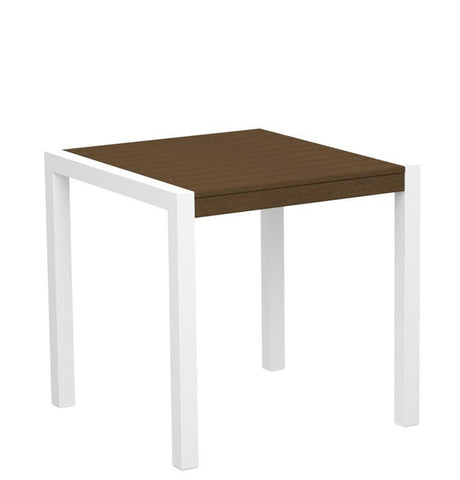 "Polywood 8000-10TE MOD 30"" Dining Table in Gloss White Aluminum Frame / Teak - PolyFurnitureStore"