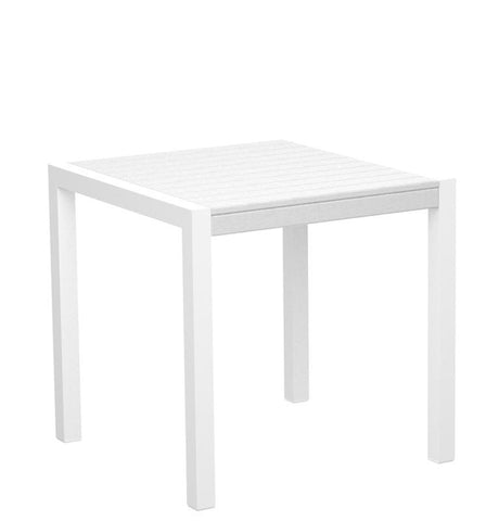 "Polywood 8000-10WH MOD 30"" Dining Table in Gloss White Aluminum Frame / White - PolyFurnitureStore"