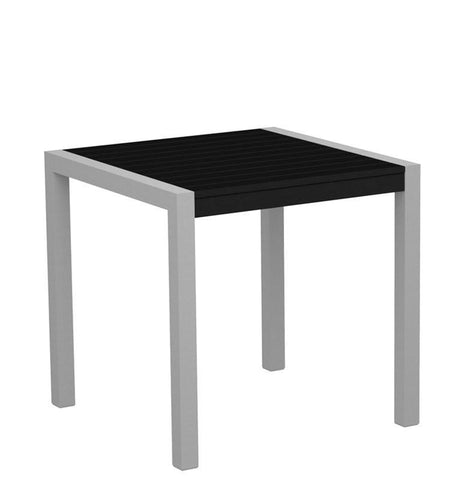 "Polywood 8000-11BL MOD 30"" Dining Table in Textured Silver Aluminum Frame / Black - PolyFurnitureStore"
