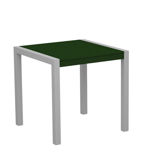 "Polywood 8000-11GR MOD 30"" Dining Table in Textured Silver Aluminum Frame / Green - PolyFurnitureStore"