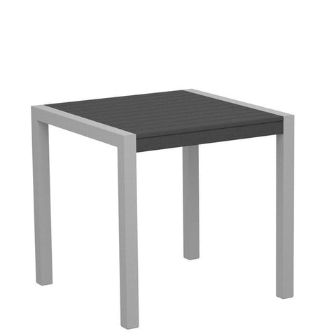 "Polywood 8000-11GY MOD 30"" Dining Table in Textured Silver Aluminum Frame / Slate Grey - PolyFurnitureStore"