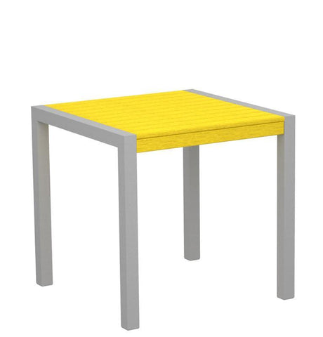 "Polywood 8000-11LE MOD 30"" Dining Table in Textured Silver Aluminum Frame / Lemon - PolyFurnitureStore"