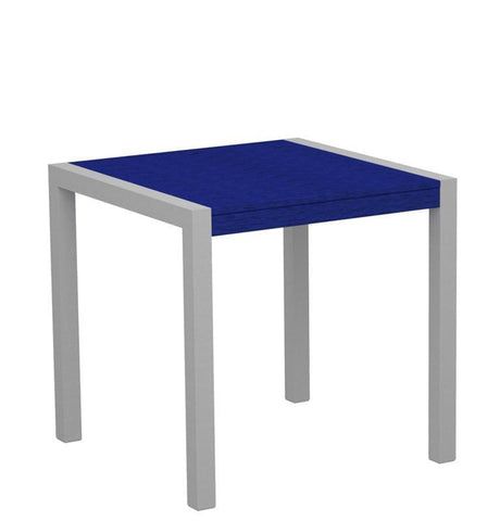"Polywood 8000-11PB MOD 30"" Dining Table in Textured Silver Aluminum Frame / Pacific Blue - PolyFurnitureStore"