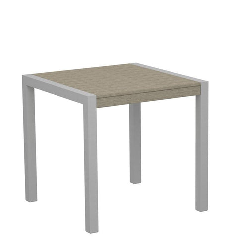 "Polywood 8000-11SA MOD 30"" Dining Table in Textured Silver Aluminum Frame / Sand - PolyFurnitureStore"