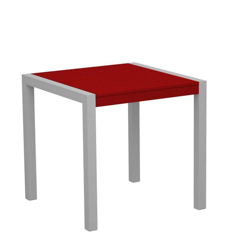 "Polywood 8000-11SR MOD 30"" Dining Table in Textured Silver Aluminum Frame / Sunset Red - PolyFurnitureStore"